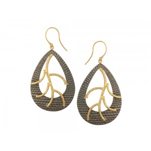Silver Gold Plated with Black Rhodium Pear Earring