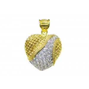 Silver Gold Plated Heart Zircon Pendant
