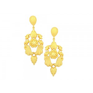 Silver Gold Plated Floral Leaf Earring