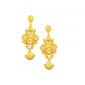 Silver Gold Plated Star Leaf Earring