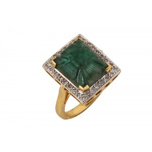 Silver Gold Plated Emerald Carving & Diamond Ring
