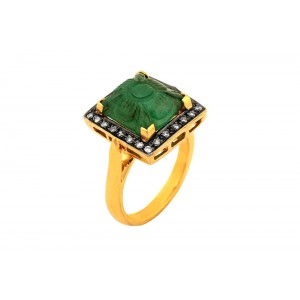 Silver Gold Plated with Black Rhodium Emerald & Uncut Diamond Ring