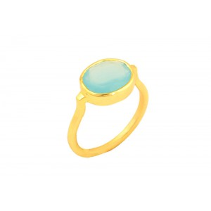 Silver Gold Plated Aqua Blue Ring