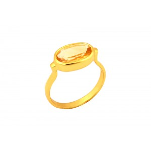 Silver Gold Plated Lemon Quartz Ring
