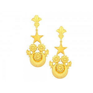 Silver Gold Plated Floral Star Earring