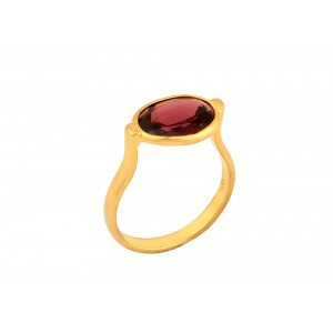 Silver Gold Plated Garnet Ring