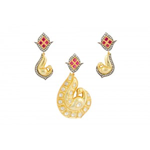 Silver Gold Plated with Black Rhodium Ruby, Crystal Polki & Zircon Peacock Pendant Set