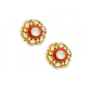 Silver Gold Plated Crystal Polki & Pearl with Meena Work Earring