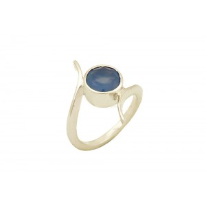 Silver Ink Chalcedony Ring