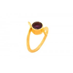 Silver Gold Plated Amethyst Bezel Ring