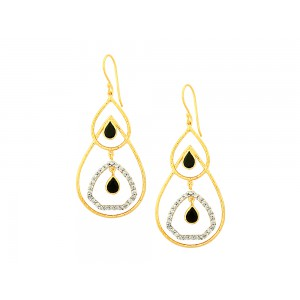 Silver Gold Plated Black Onyx & Zircon Earring
