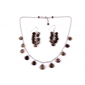 Silver Gold Plated Smoky Quartz Necklace Set