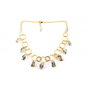 Silver Gold Plated Green Amethyst Necklace