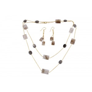Silver Gold Plated Wooden Rutile Necklace Set