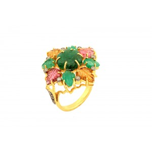 Silver Gold Plated with Black Rhodium Tourmaline Leaf, Emerald, Diamond Ring