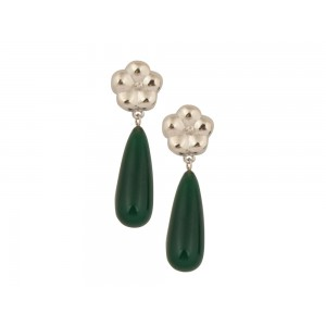 Silver Green Drop Earring