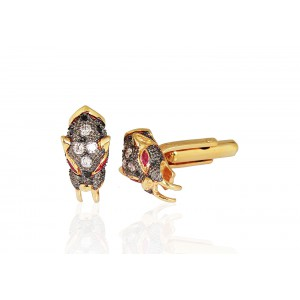 Silver Gold Plated with Black Rhodium Ruby & Zircon Cufflink