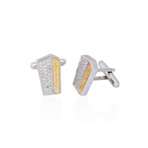 Silver with Gold Plated Zircon Cufflink