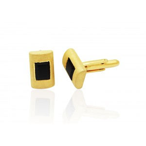 Silver Gold Plated Black Onyx Cufflink