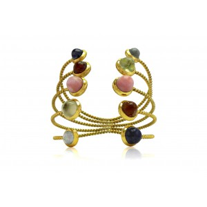 Silver Alloy Gold Plated Multi Gem Multi Band Handcuff