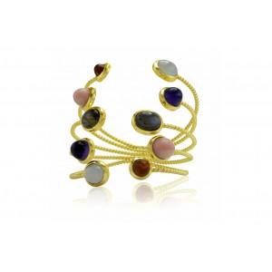 Silver Alloy Gold Plated Multi Gem Handcuff