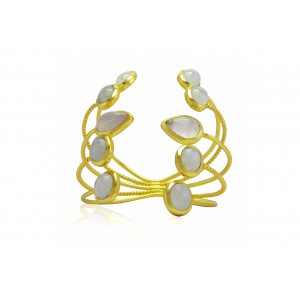 Silver Alloy Gold Plated Aqua Marine & Rose Quartz Multi Band Handcuff