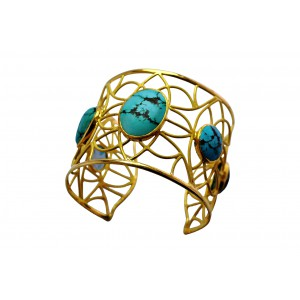 Silver Gold Plated Turquoise Handcuff