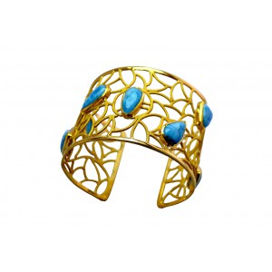 Silver Gold Plated Larimar Handcuff