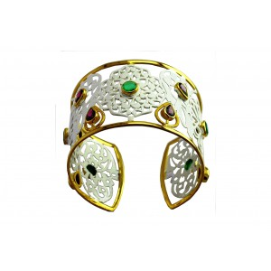 Silver Gold Plated Garnet & Green Onyx Floral Handcuff