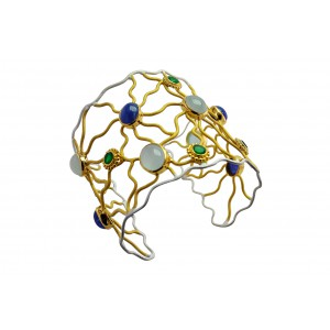 Silver Gold Plated Aqua Marine, Tanzanite & Green Onyx Handcuff