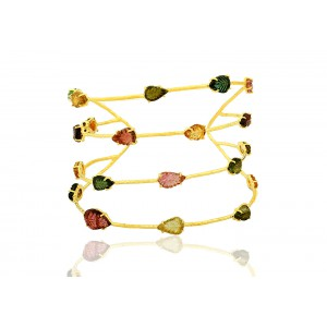 Silver Gold Plated Tourmaline Leaf Handcuff