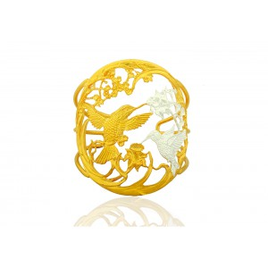 Silver Alloy Gold Plated Floral Handcuff