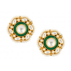 Silver Gold Plated Crystal Polki, Pearl & Meena Earring