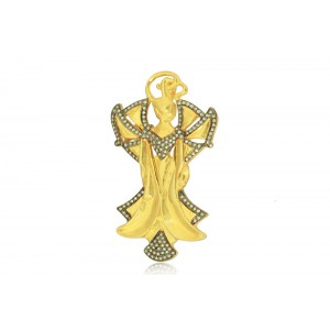 Silver Gold Plated with Black Rhodium Zircon Designer Brooch