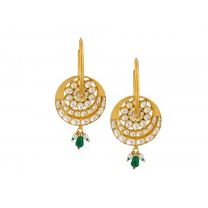Silver Gold Plated Crystal Polki, Pearl & Green Onyx Earring