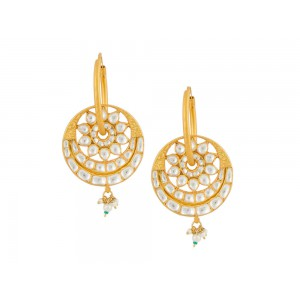 Silver Gold Plated Crystal Polki, Pearl & Green Beads Earring