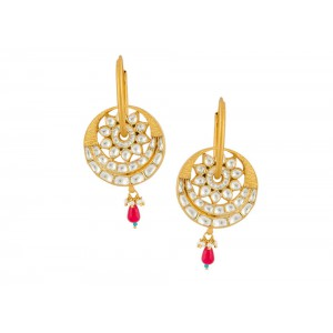 Silver Gold Plated Crystal Polki, Pearl, Green & Red Beads Earring