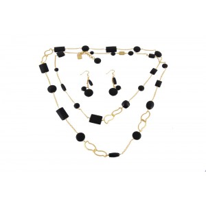 Silver Gold Plated Black Onyx Necklace Set