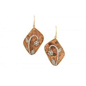Silver Gold Plated Agate & Zircon Leaf Earring