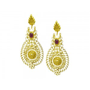 Silver Gold Plated Ruby Dangler Designer Earring