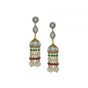 Silver Gold Plated with Black Rhodium Ruby, Green Onyx, Crystal Polki, Pearl & Zircon Jhumki