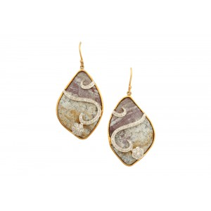 Silver Gold Plated Agate with Zircon Floral Earring