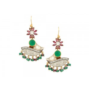 Silver Garnet & Green Onyx Zircon Dangler Earrings