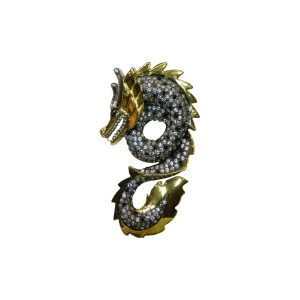Silver Gold Plated with Black Rhodium Zircon Dragon Pendant