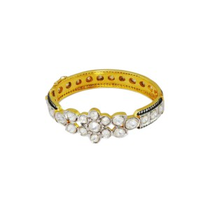 Silver Gold Platedn with Black Rhodium Crystal Polki & Zircon Bangle