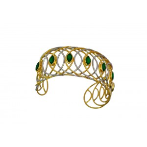Silver Gold Plated Green Onyx Handcuff