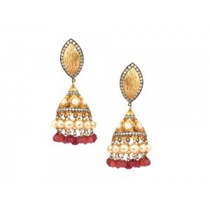 Silver Gold Plated Pearl & Ruby Colord Beads Jhumki Earrings