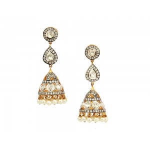 Silver Crystal Polki Pearl & Ruby Colord Beads Jhumki Earrings