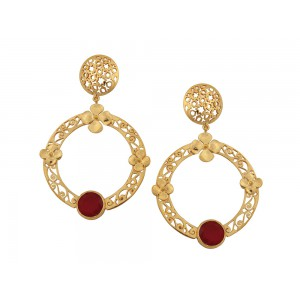 Silver Alloy Gold Plated Red Hydro Earring