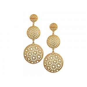 Silver Alloy Gold Plated Round Jali Long Earring